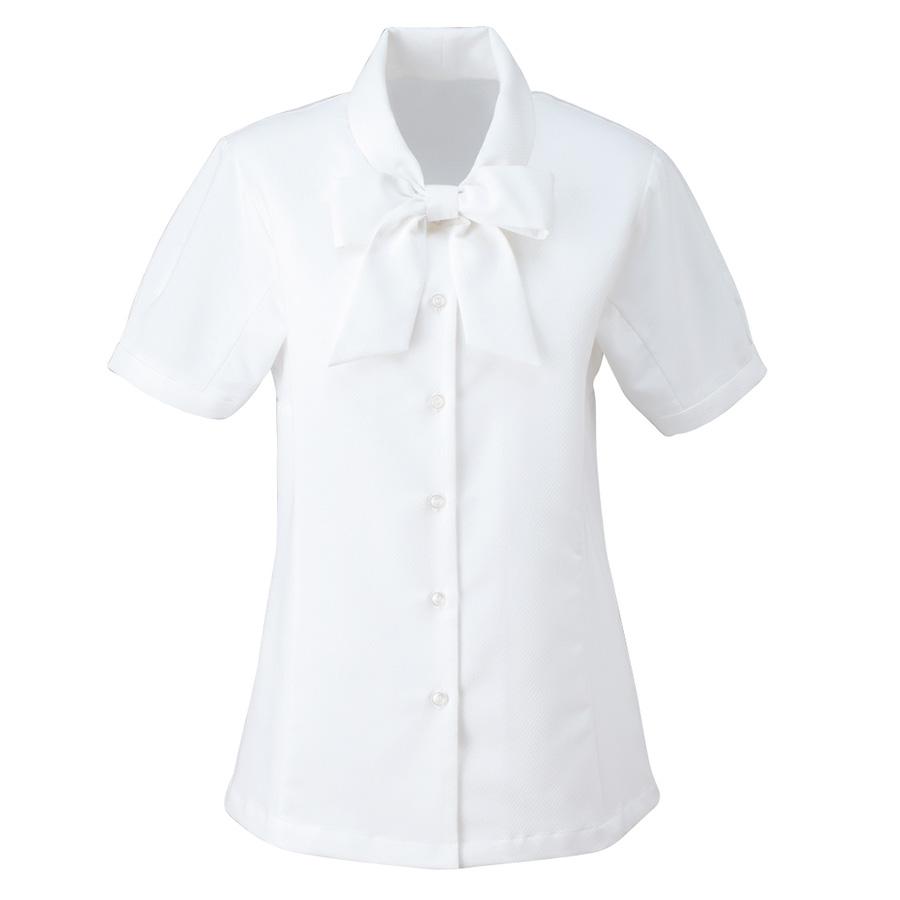 ボウブラウス (半袖) ESB−407 11 ホワイト