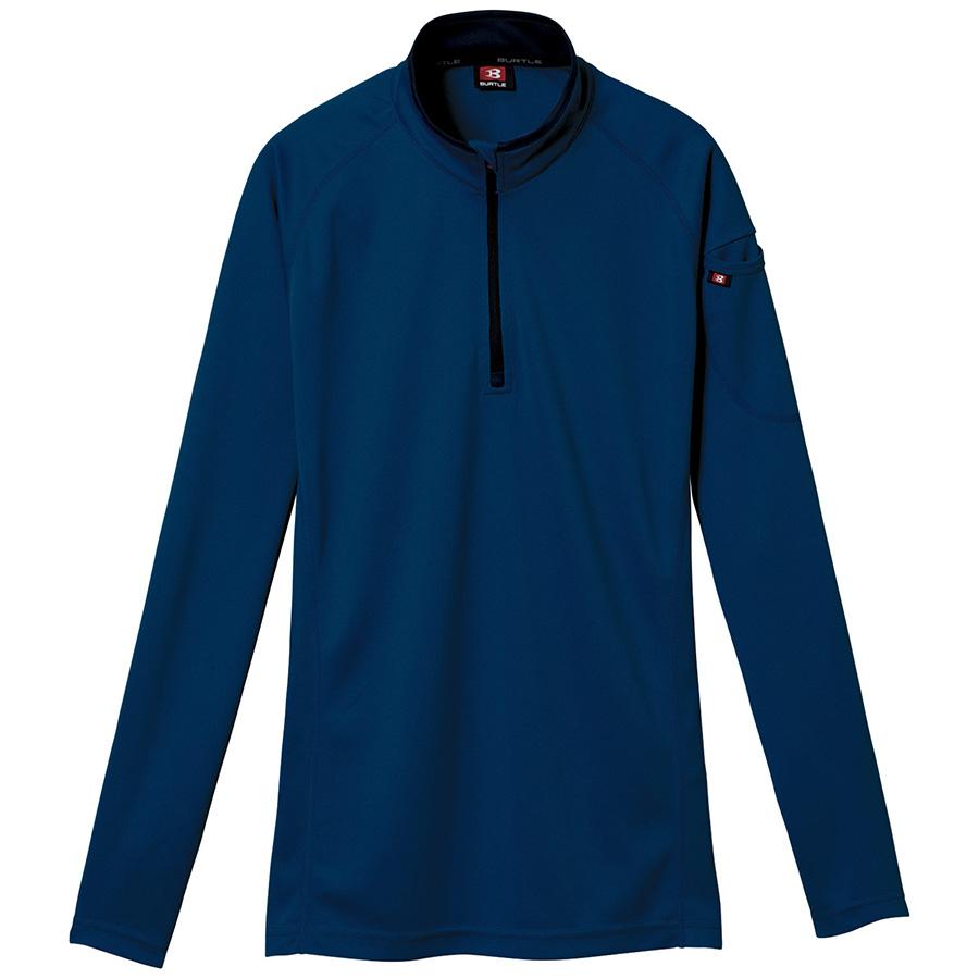 長袖ジップシャツ 413−003 ネイビー (5L)