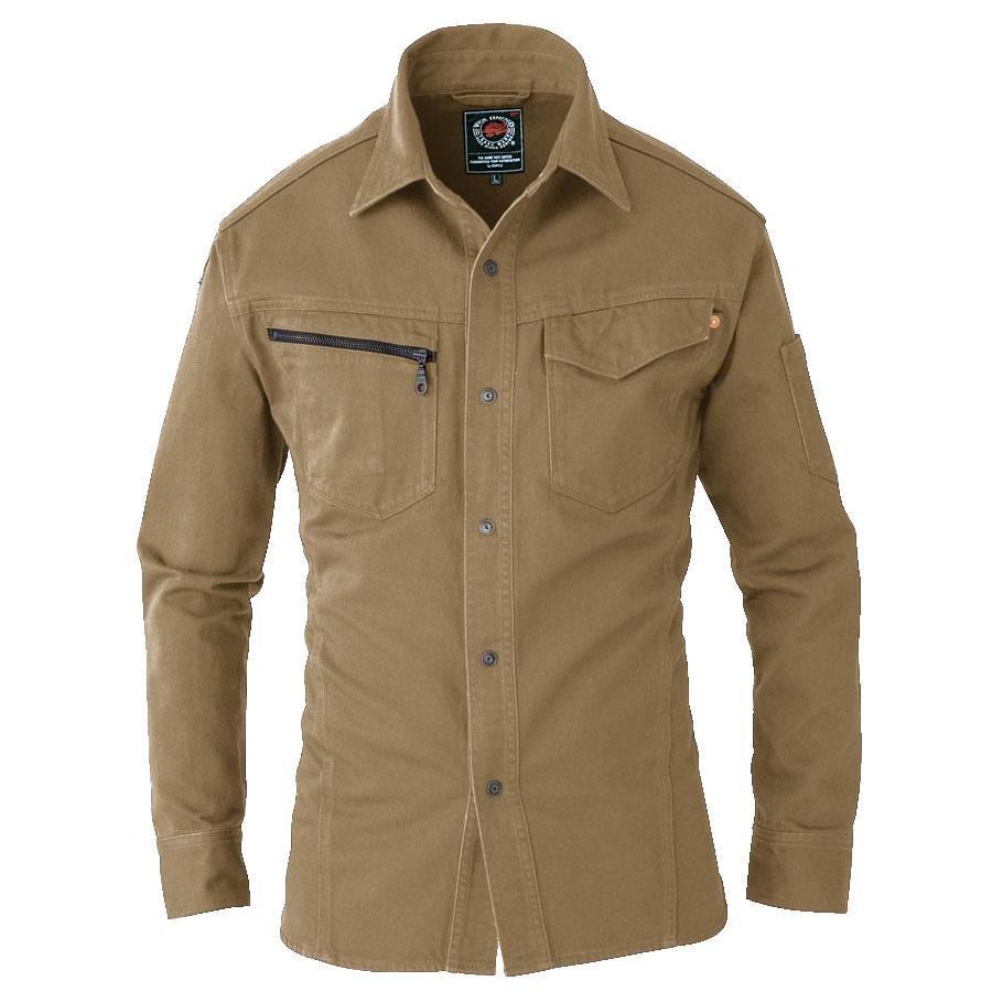 長袖シャツ 5205−24 キャメル (4L)