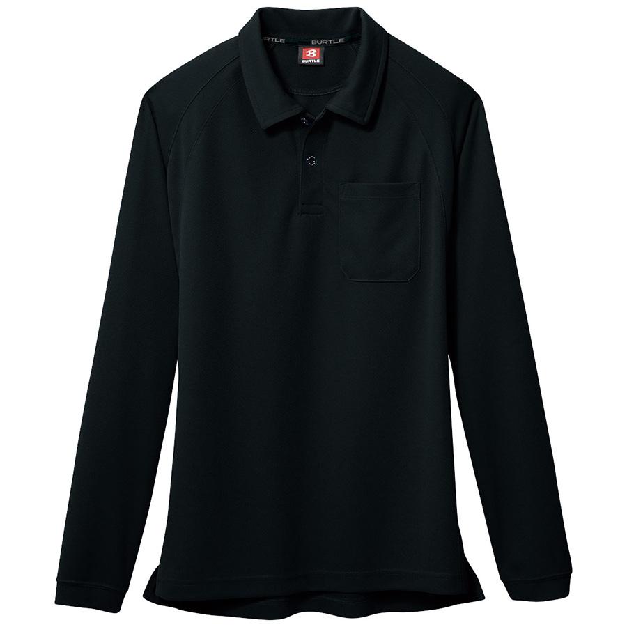 長袖ポロシャツ 103−035 ブラック (SS〜3L)
