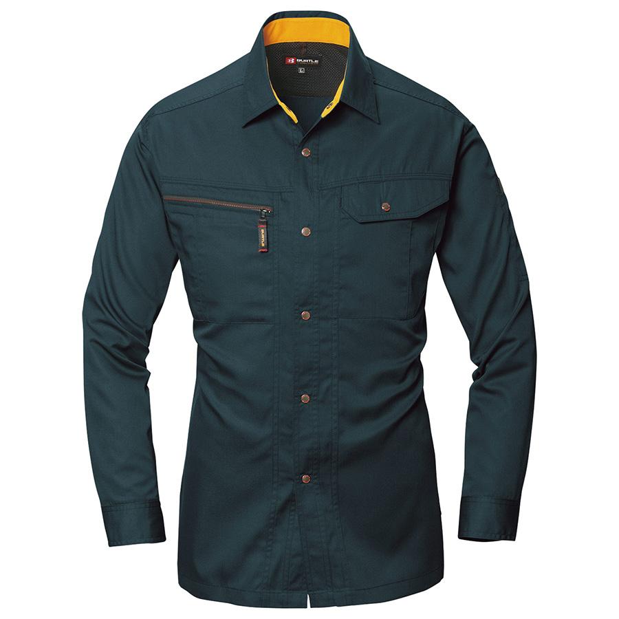 長袖シャツ 6033−37 チャコールブラック (S〜3L)