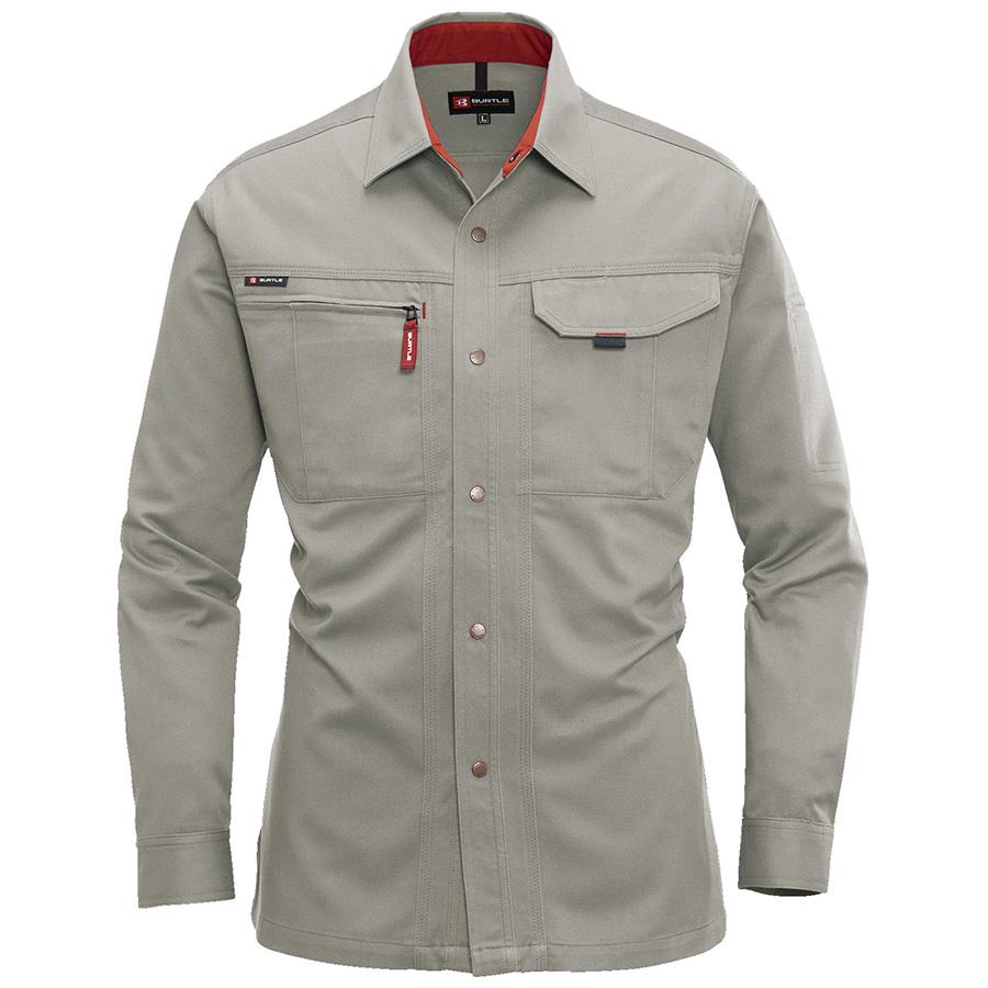 長袖シャツ 8015−21 グレージュ (4L)