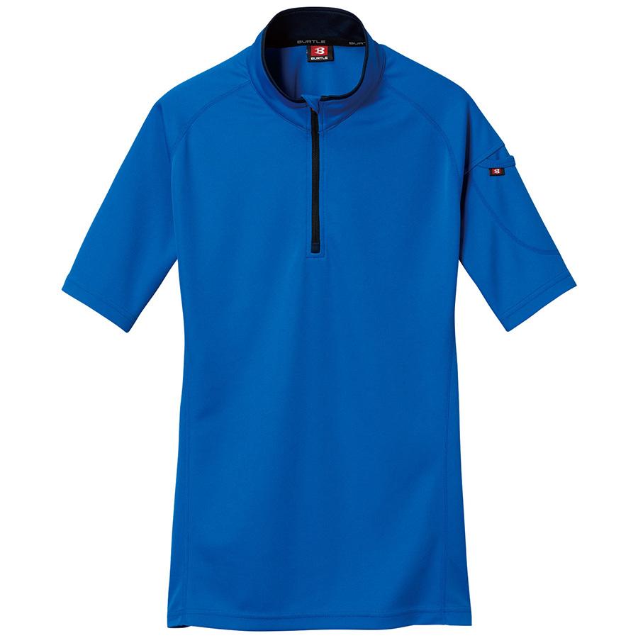 半袖ジップシャツ 415−047 サーフブルー (SS〜3L)