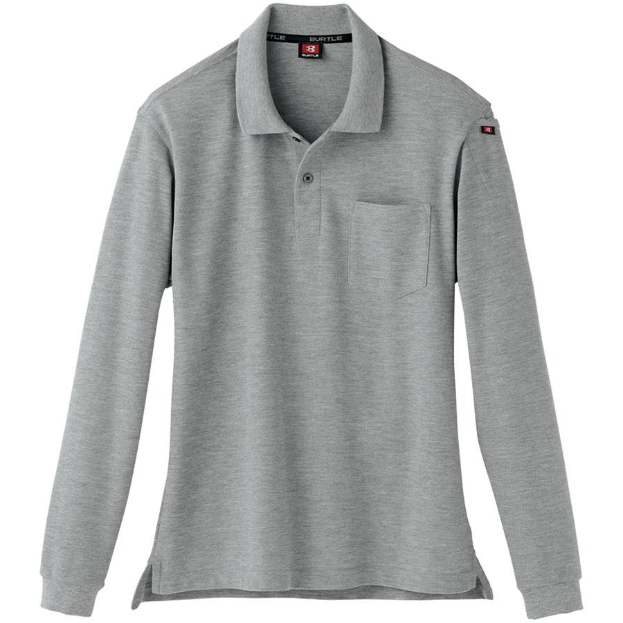 長袖ポロシャツ 505−56 ミドルグレー(杢) (4L)