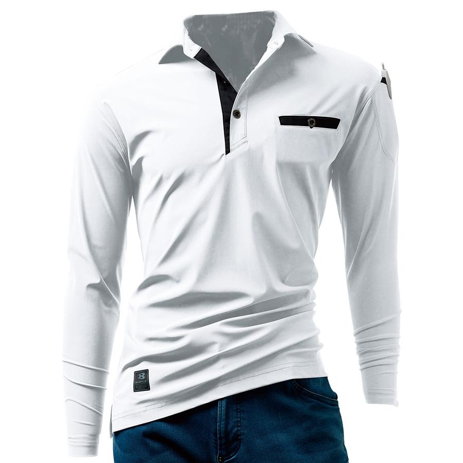 長袖アイスポロシャツ ユニセックス 225−29 ホワイト (S〜XXL)