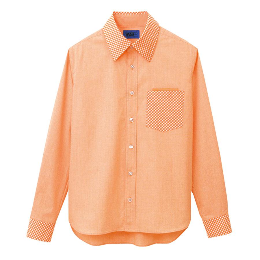 ユニセックス 長袖シャツ 63394 オレンジ 4L