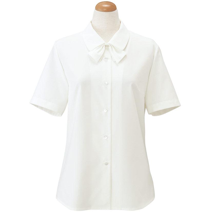 TioTio 半袖ブラウス (リボン付) ホワイト 36188 (17・19号)