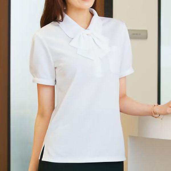 半袖 ポロシャツ リボン付 36598 ホワイト SS〜3L