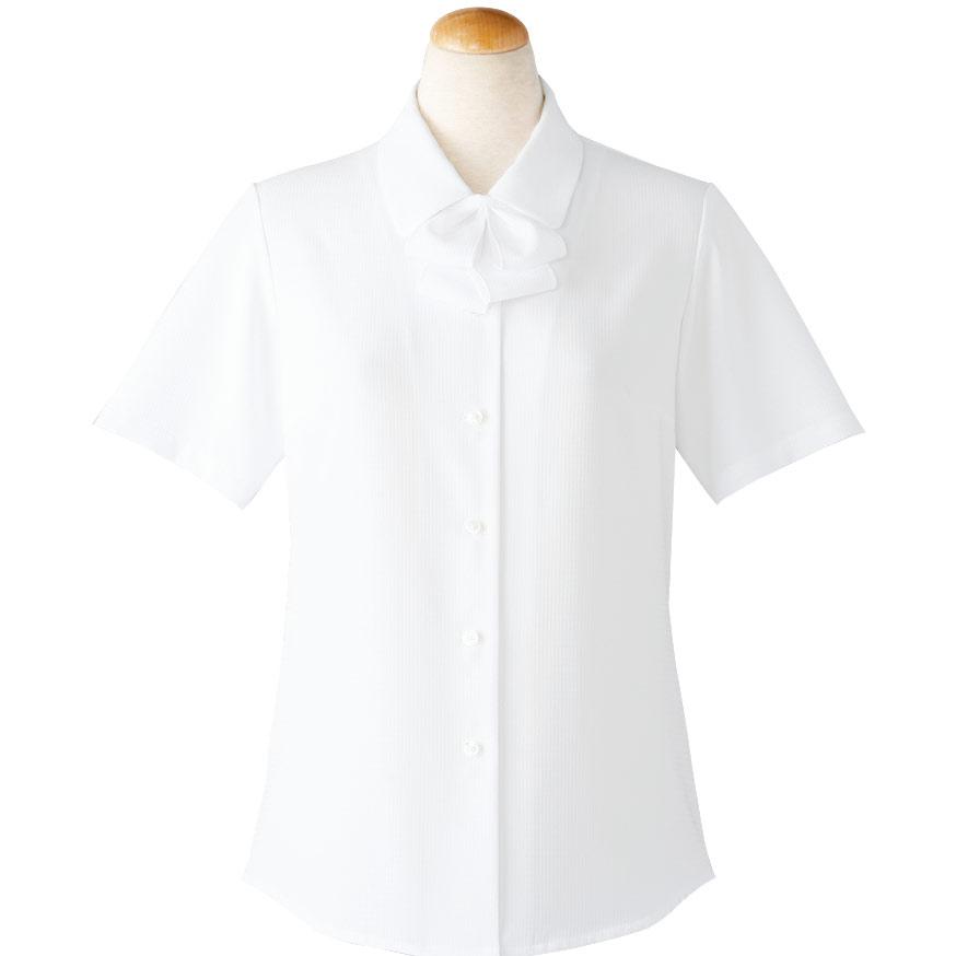半袖ブラウス (リボン付) 36698 ホワイト (5〜15号)