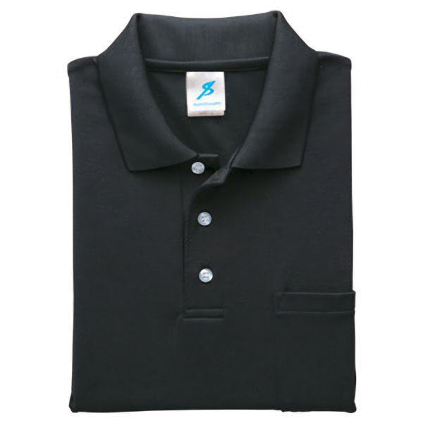 清涼感長袖ポロシャツ (ポケ付) T19SN−11 ブラック