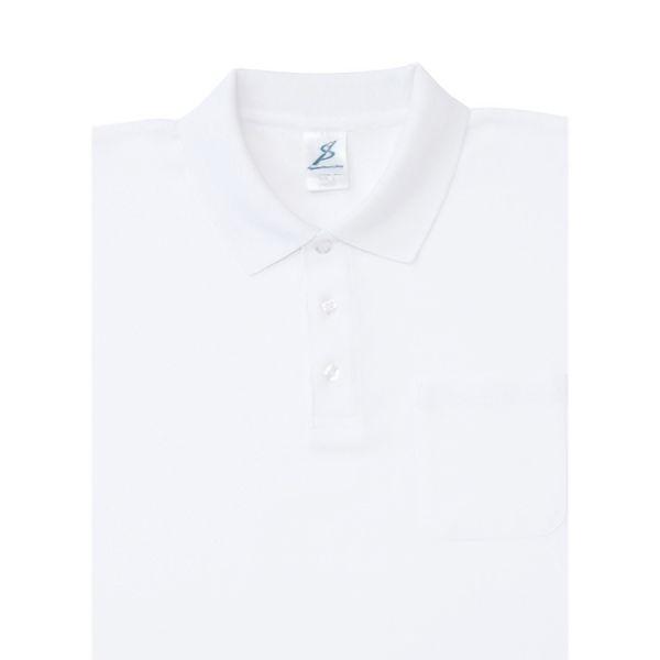 制電糸入 清涼感長袖ポロシャツ (ポケ付) T25SL−012 ホワイト