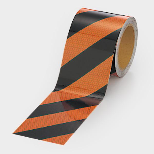 高輝度テープ 374−84 橙/黒 90幅×10m
