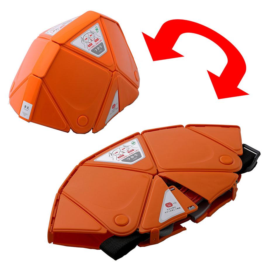 折りたたみ防災ヘルメット TSC−10 Flatmet フラットメット オレンジ