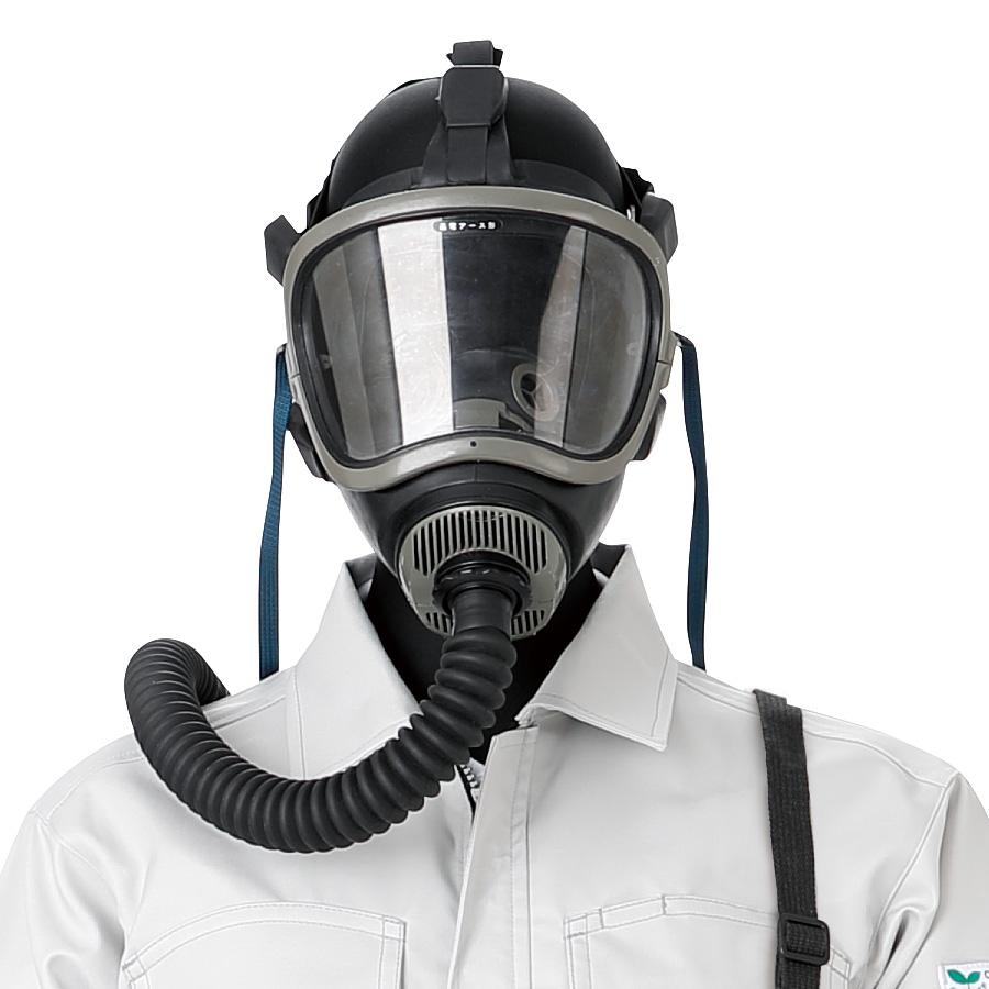 エアラインマスク 18号HVT−Y型 1本蛇管式 逃電アース形 携帯式ろ過筒付