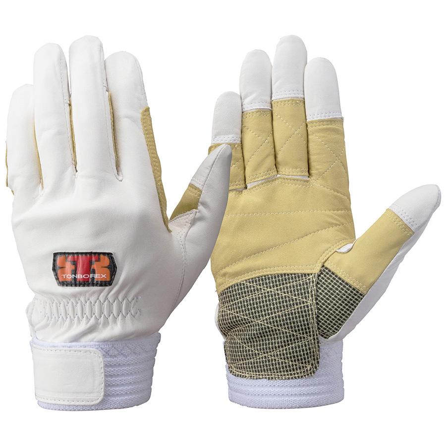 トンボレックス 牛革手袋 CS−314W 薄手・ガンカット・ケニール補強 S