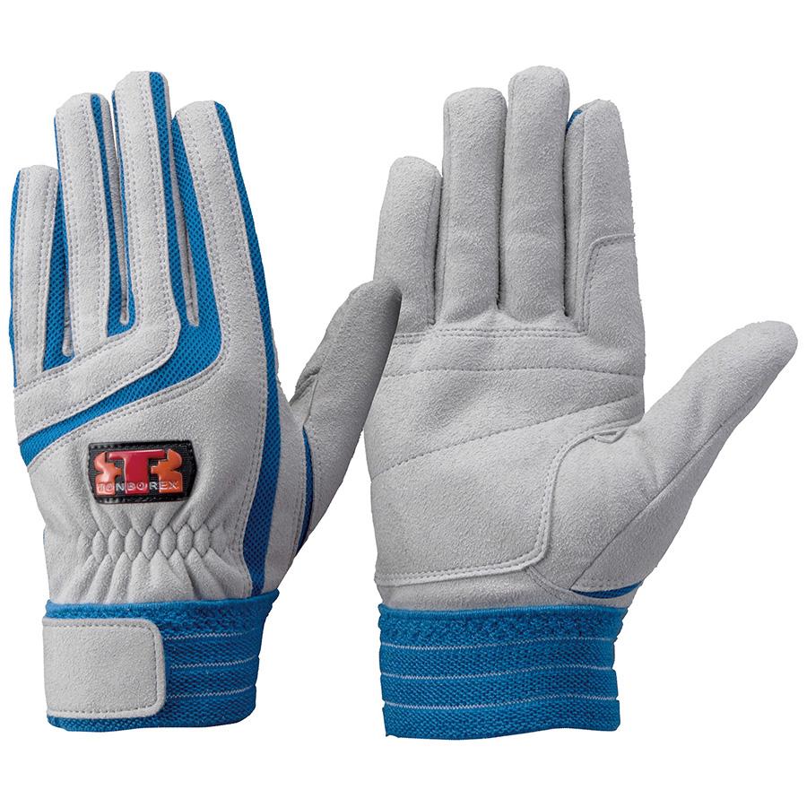 トンボレックス 人工皮革手袋 E−129BU 中厚 シルバーグレー×ブルー M