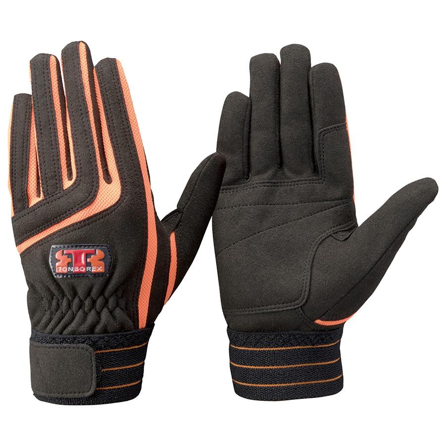 トンボレックス 人工皮革手袋 E−129BK 中厚 ブラック×オレンジ M