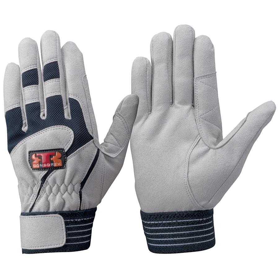 トンボレックス 人工皮革手袋 E−124NV 中厚 シルバーグレー×ネイビー L