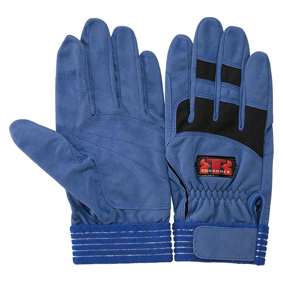 トンボレックス 人工皮革手袋 E−128BU 薄手 ブルー M