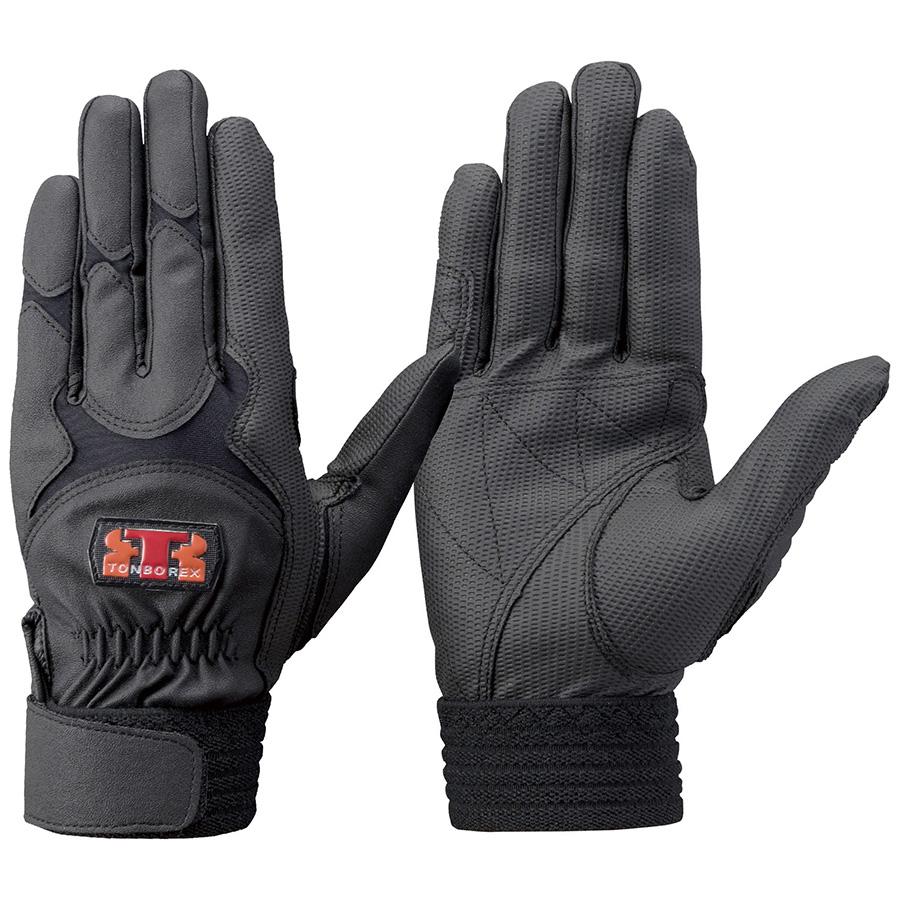 トンボレックス 合成皮革手袋 E−838BK 薄手・ガンカット ブラック LL