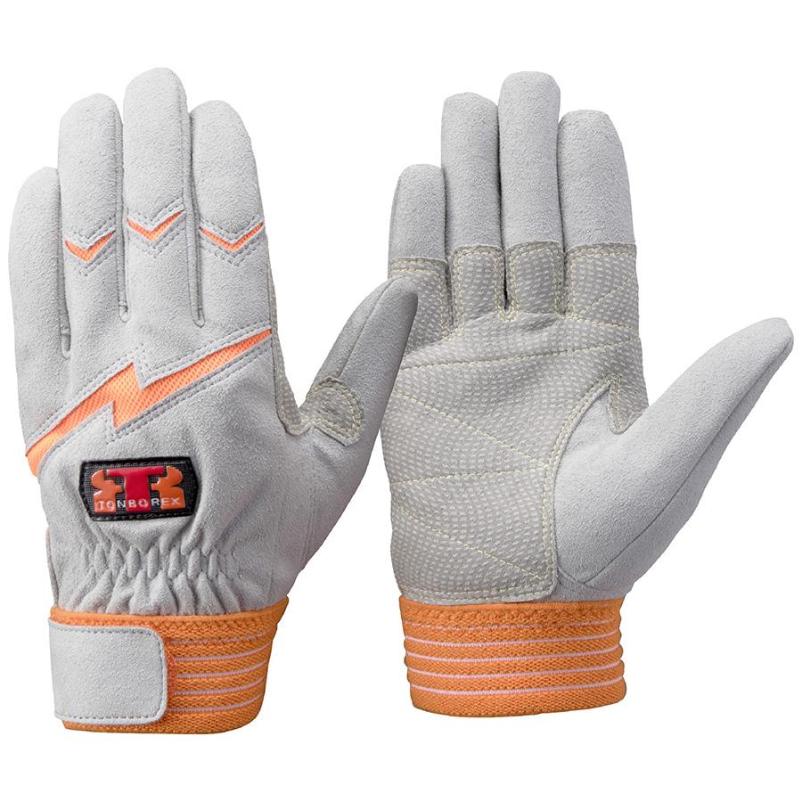 トンボレックス 人工皮革手袋 E−125R 中厚・ガンカット仕様 オレンジ L