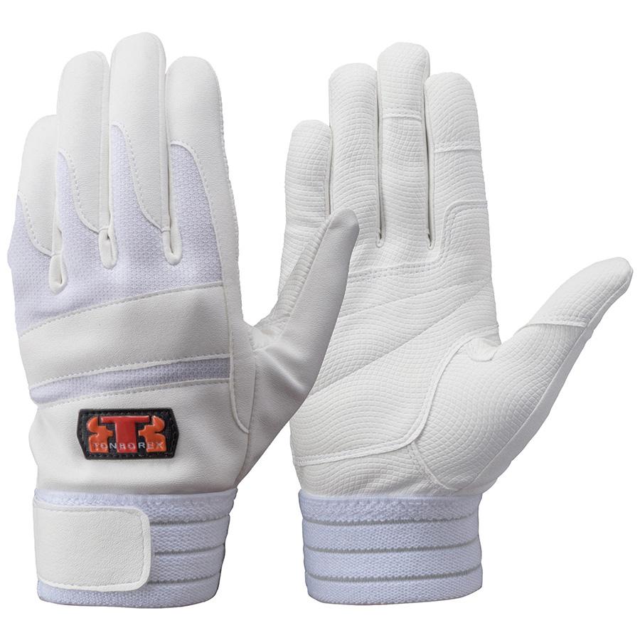 トンボレックス 合成皮革×甲ニット手袋 E−843W ホワイト×ホワイト M