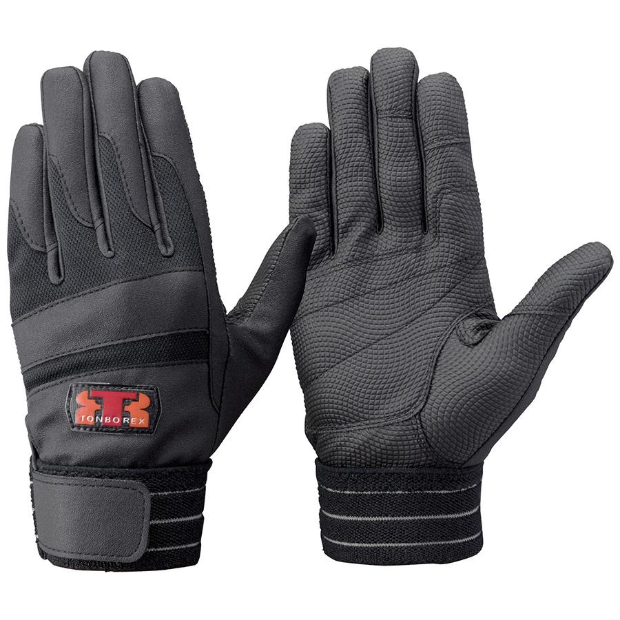 トンボレックス 合皮皮革×甲ニット手袋 E−843BK ブラック×ブラック S