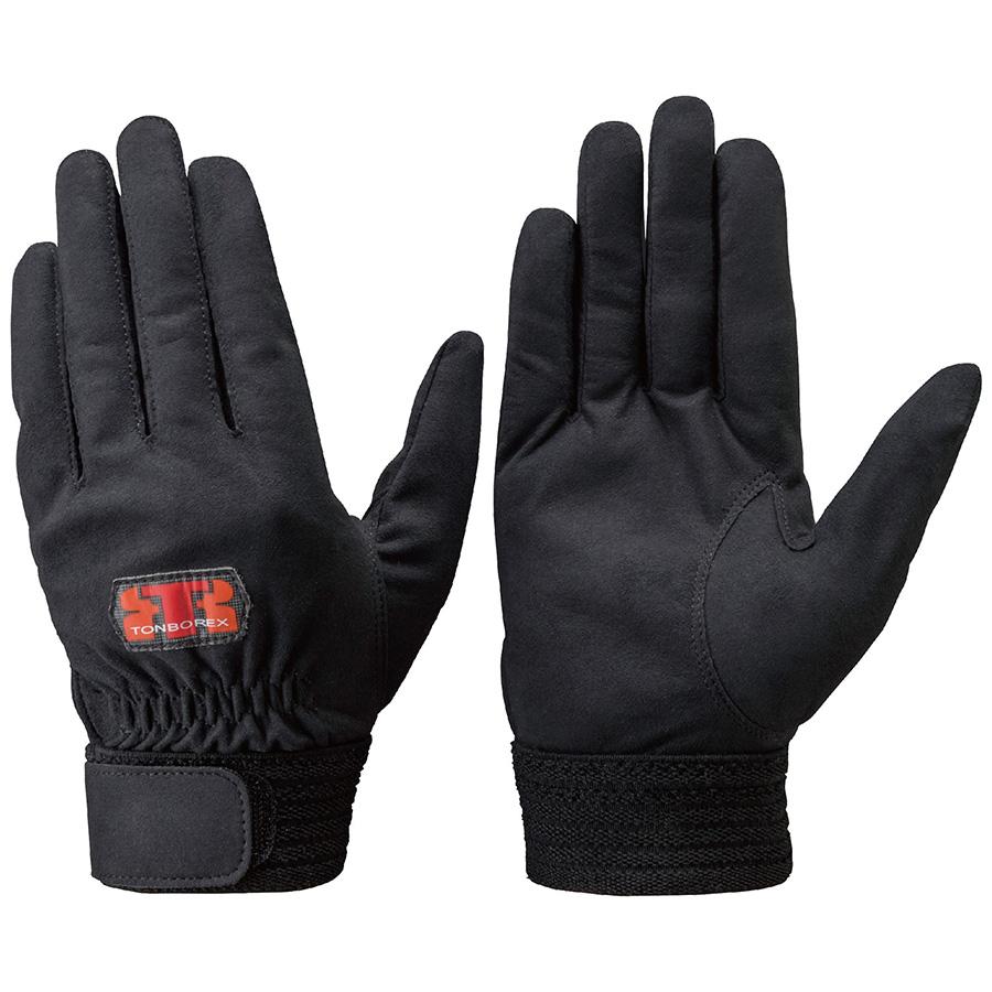トンボレックス 人工皮革製手袋 E−REX21BK 黒 手の平当て無タイプ M