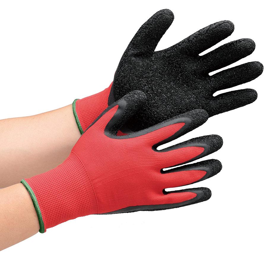 作業手袋 ハイグリップ 天然ゴム背抜き手袋 MHG130 レッド×ブラック M