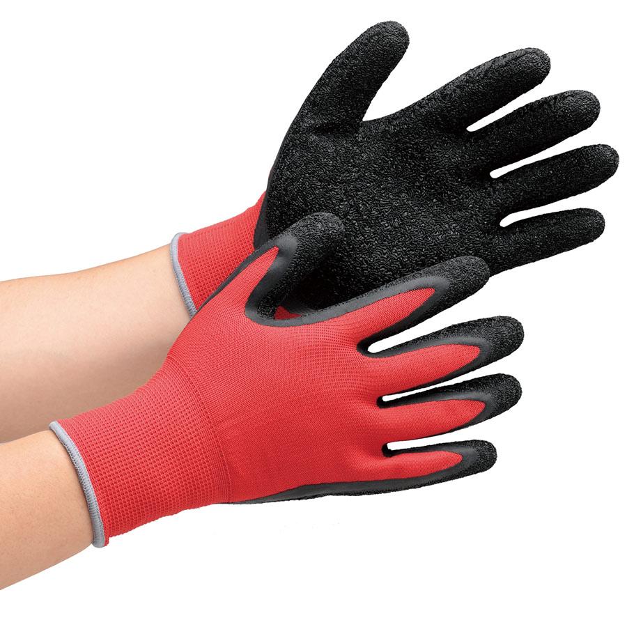 作業手袋 ハイグリップ 天然ゴム背抜き手袋 MHG130 レッド×ブラック L