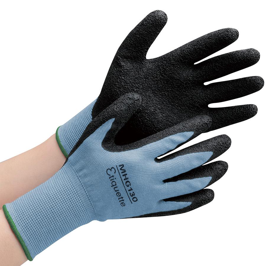 消臭機能糸使用作業手袋 ハイグリップ天然ゴム背抜き MHG130エチケット M