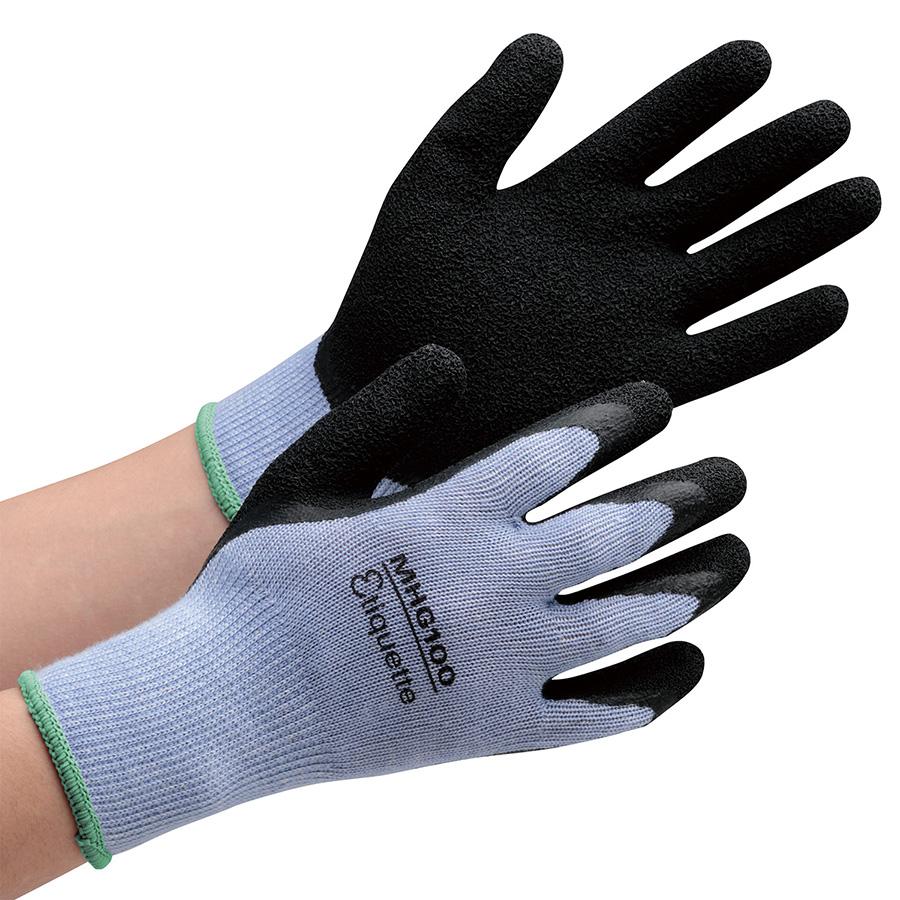 消臭機能糸使用作業手袋 ハイグリップ天然ゴム背抜き MHG100エチケット M