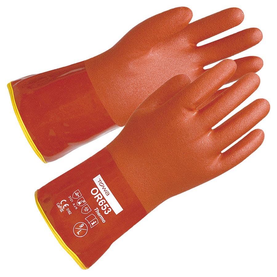 作業手袋 OR653 ソフトビニスタ−防寒インナ−付 L 12双/袋