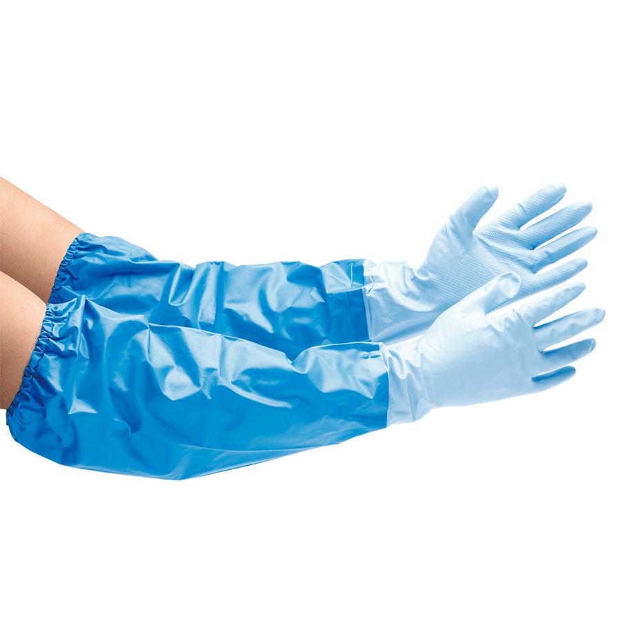 ニトリルゴム製手袋 NO.390 M 耐油 中厚手 腕カバー付 5双