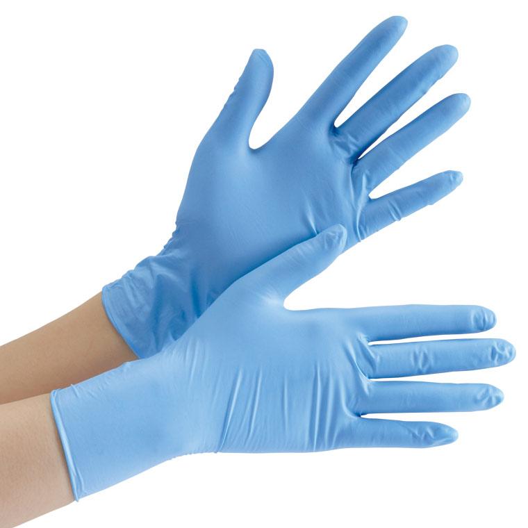 ニトリル手袋 ベルテ 752K (レギュラー) 粉付き ブルー XL 100枚入