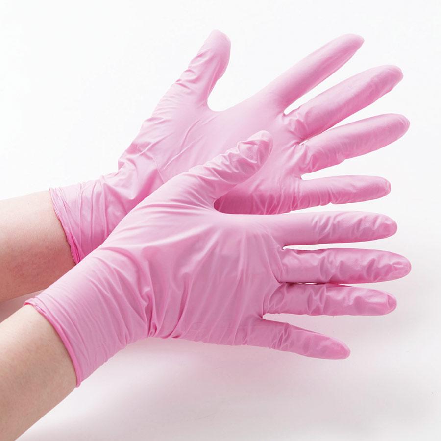 ニトリル製ディスポ手袋 ベルテ760H ピンク L パウダーフリー 100枚