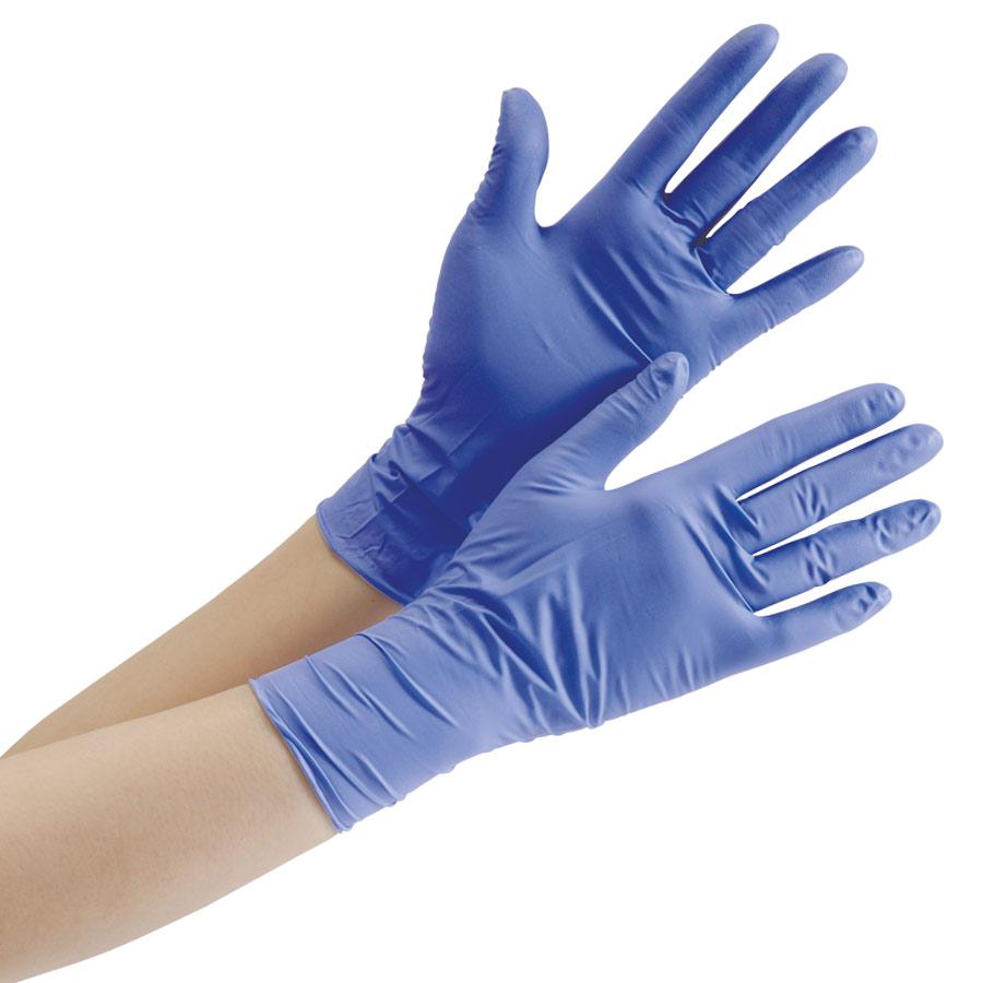 ニトリル手袋 ベルテ701H ブルー L パウダーフリー 100枚入