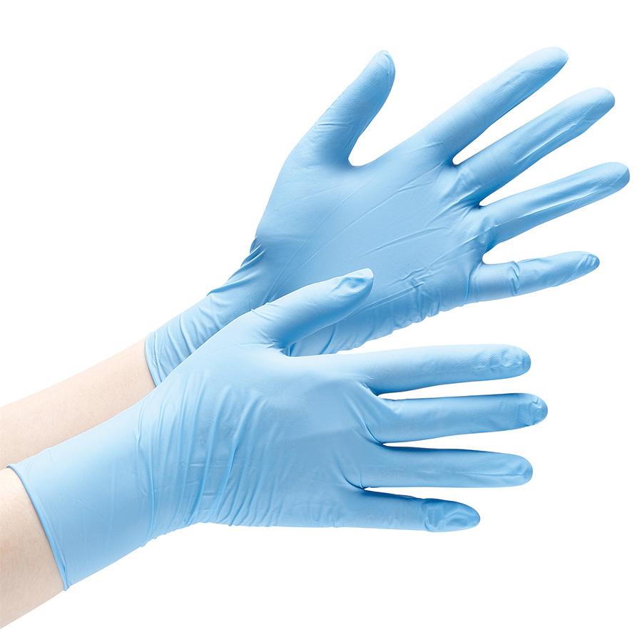 ニトリル手袋 アクセラレーターフリー ベルテ728 LL ブルー 粉無 100枚