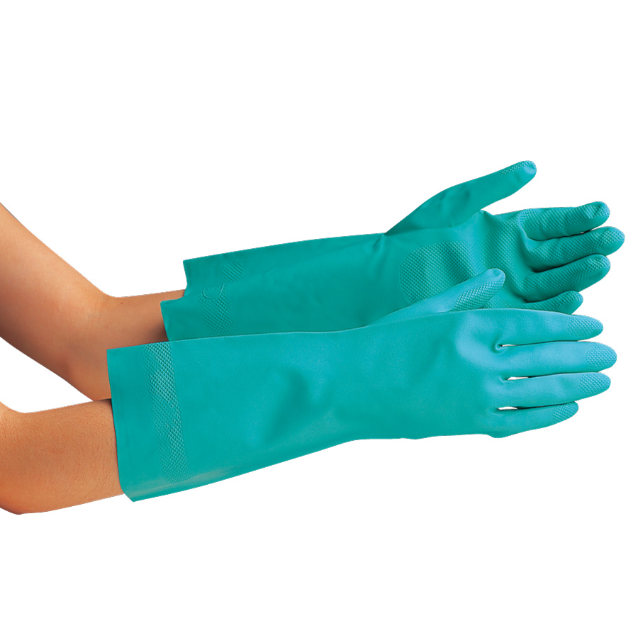 ニトリル炊事用手袋 ベルテ252 グリーン 厚手 M 10双
