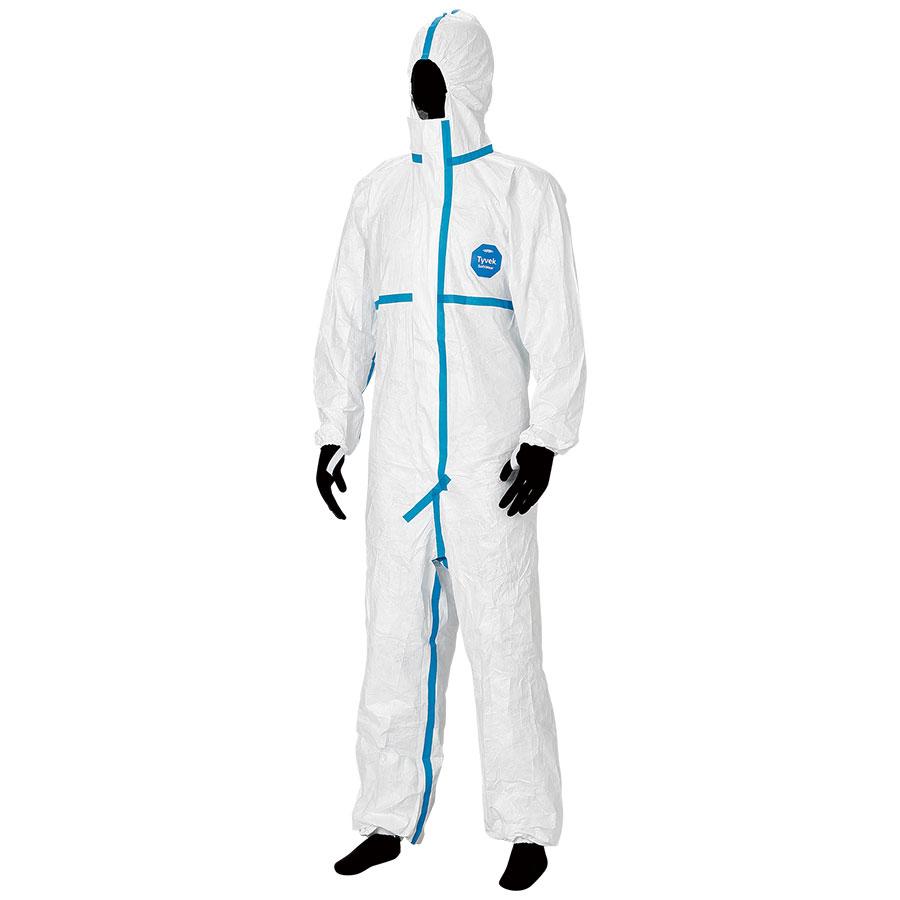 防護服 デュポン(TM) タイベック(R) ソフトウェア �V型フード付 L