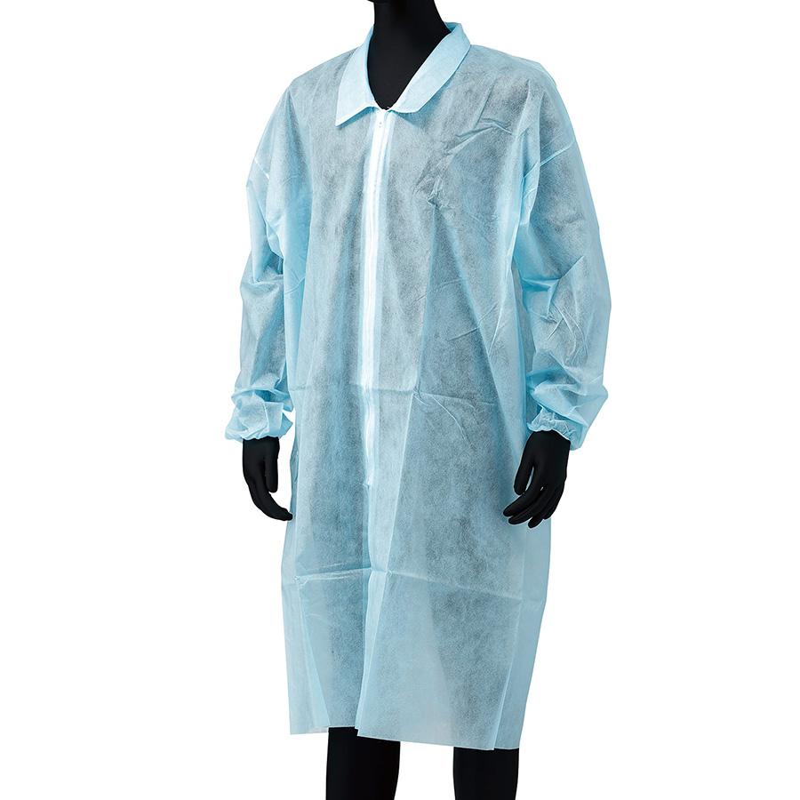 不織布白衣 (ファスナー付・ポケット無) M寸 青 (100枚入)