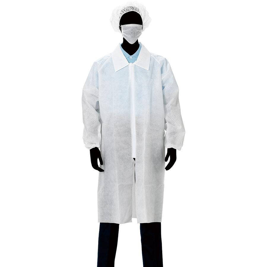 白衣3点セット 2−01SN (ファスナー、ポケットなし) 5セット/束 XXL