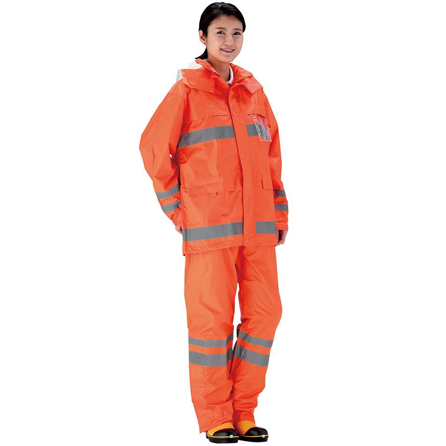 夜間作業用レインウェア 安全レイン FS−6000 オレンジ S