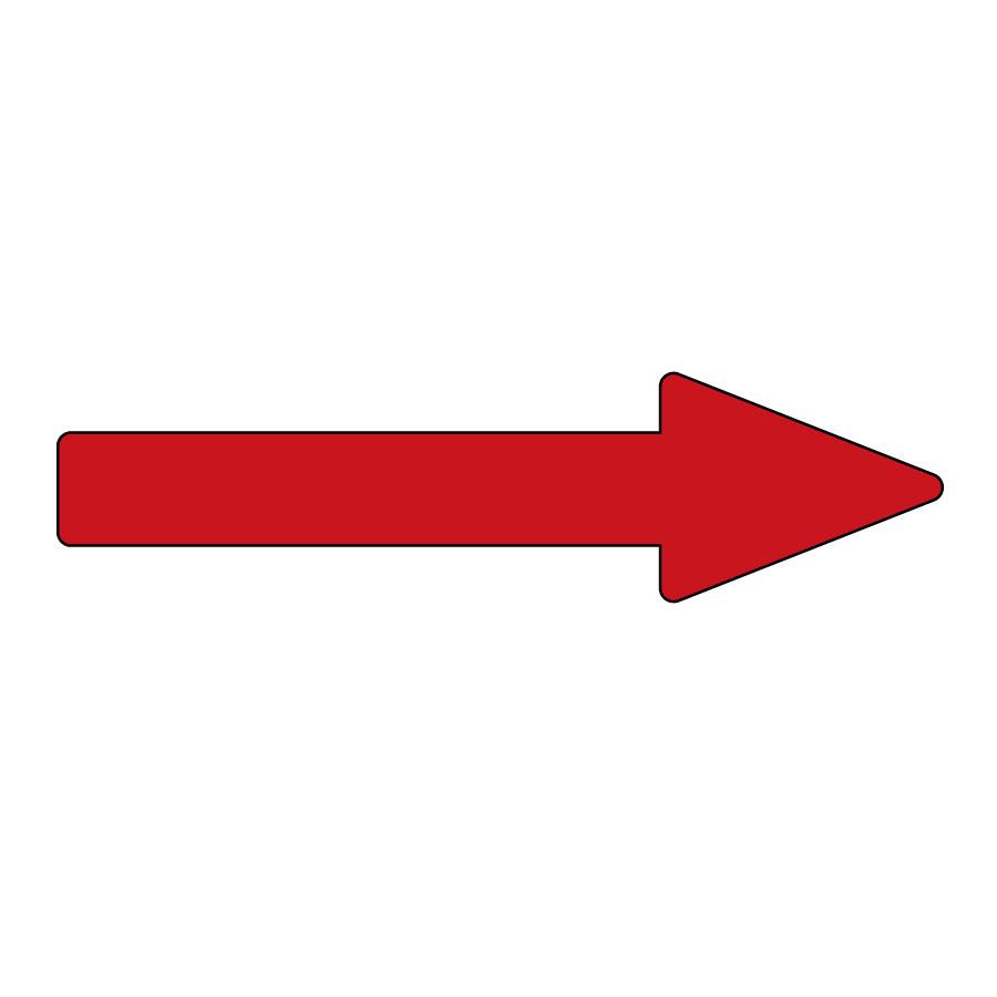 配管方向表示ステッカー 貼矢41 赤 大 193141 10枚入