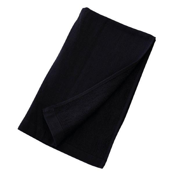 熱中対策 綿ガーゼロングタオル ブラック