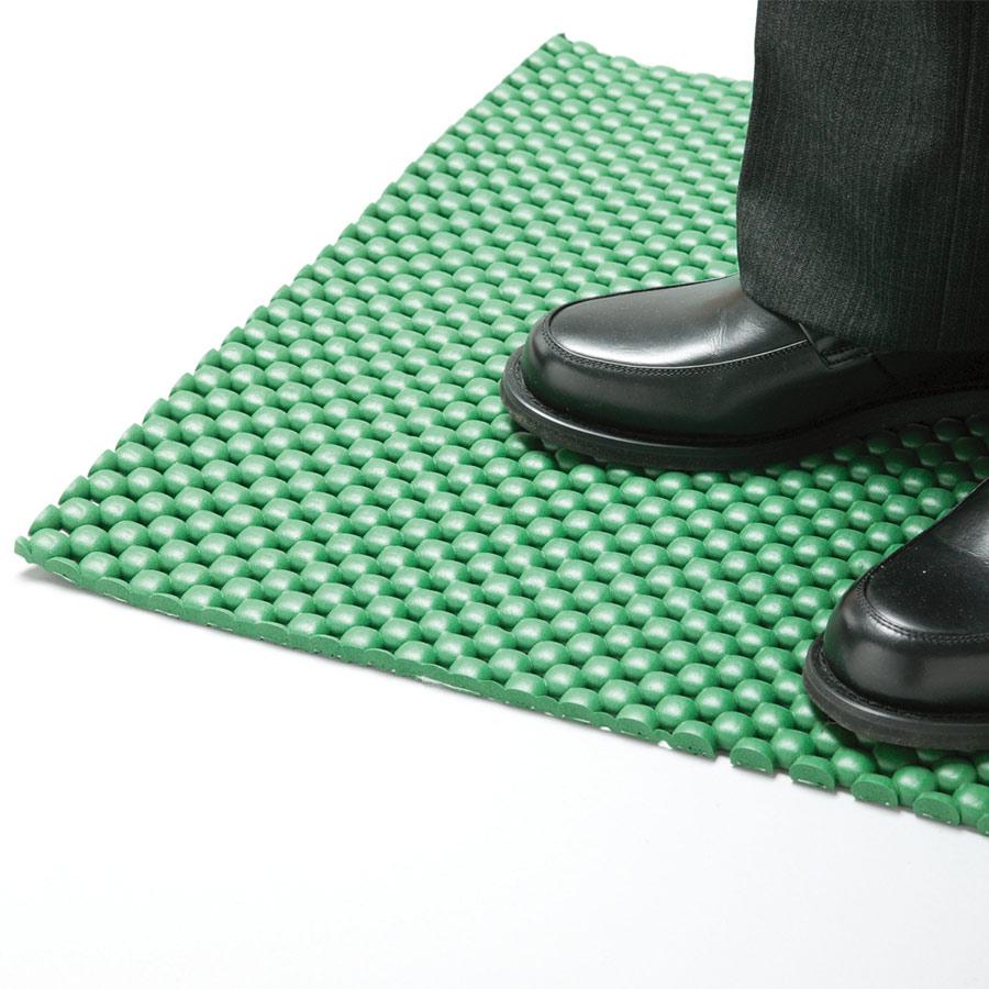 疲労防止用マット Mクッションきらめき 平状7mm ライトグリーン 1m×1m