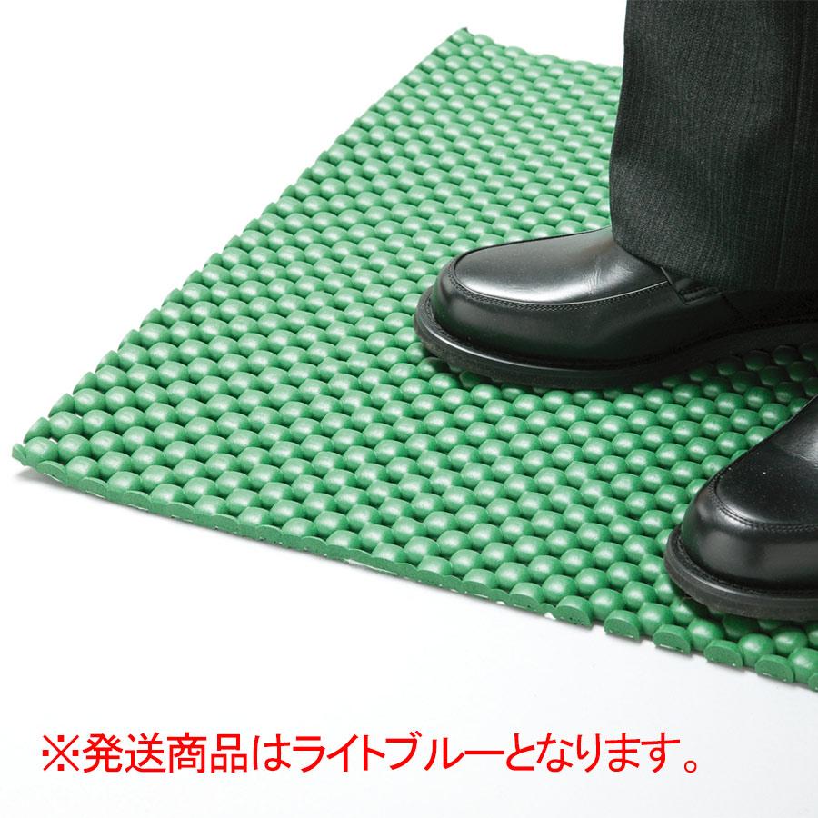 疲労防止用マット Mクッションきらめき 平状7mm ライトブルー 1m×1m