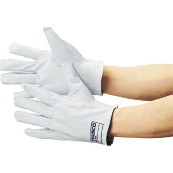 TRUSCO 袖なし革手袋クレスト牛革製白 TYKKW 8539