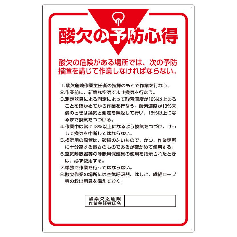 管理表示板 808−44 酸欠の予防心得