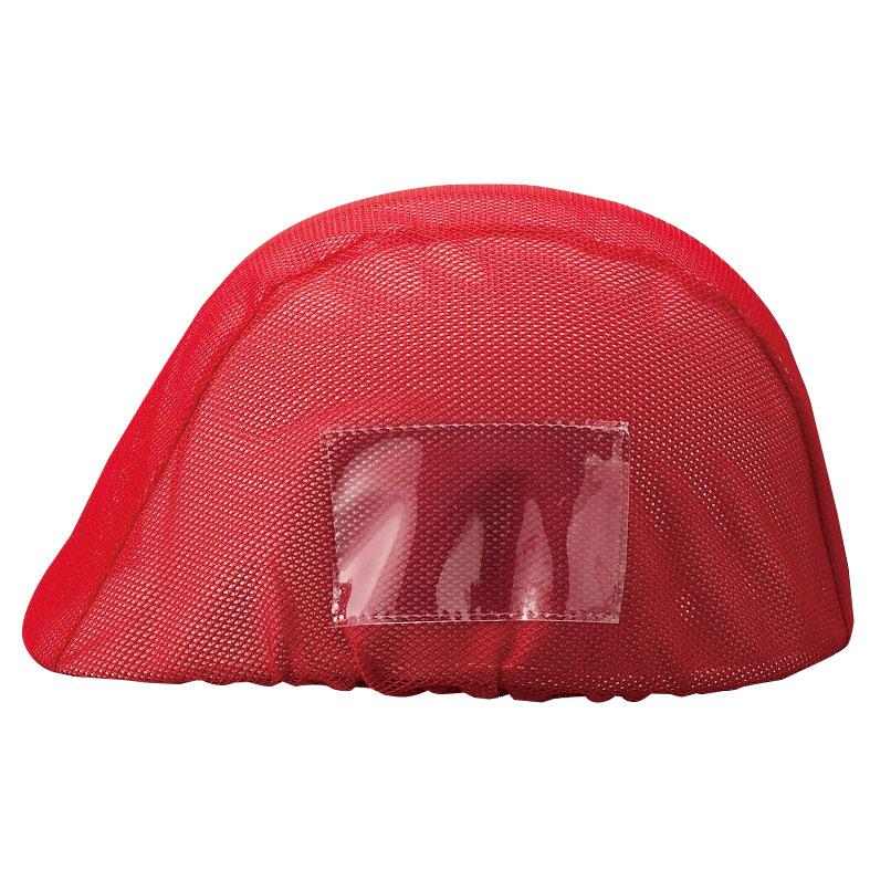 防災・訓練用品 831−741 ヘルメットカバーメッシュポケット付 赤